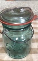 Vtg Aqua Blue Ball Ideal Mason Canning Jar Glass Lid Wire Bail Handle Pint - $11.87