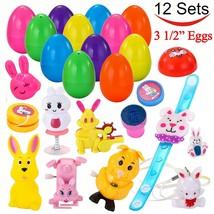 "12 PCs Toys Filled Surprise Eggs, 3.25"" Jumbo Colorful Prefilled Plastic... - $15.76"