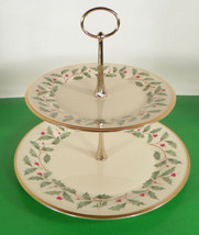 Lenox Dimension HOLIDAY 2-Tiered Serving Cookie Tidbit Tray Holly Berry - $59.35