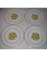"""Staffordshire England SUMMERTIME Dinner Plates 10"""" Set of 4 Daisies-Gold... - $24.99"""