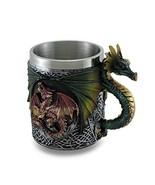Gothic Dragon Tankard Celtic Knot work Mug w/Stainless Steel Insert - $19.97