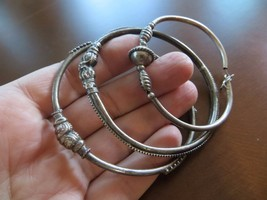 Old Ethnic Tribal Rajasthan Sterling Hand Crafted bracelets lot of 3 / 6... - $74.99