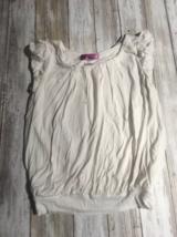 Aqua Girls Bubble Top Shirt White Ivory Size Small - $8.91