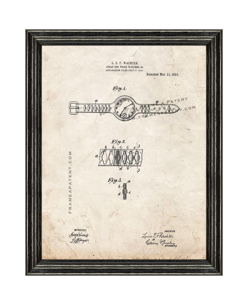 Primary image for Wristwatch Patent Print Old Look with Black Wood Frame