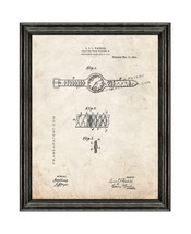 Wristwatch Patent Print Old Look with Black Wood Frame - $24.95+