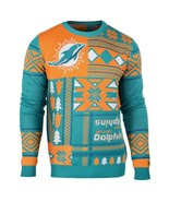 UGLY CHRISTMAS SWEATER NFL MIAMI DOLPHINS PATCHES FOOTBALL XMAS CREW NECK - £39.55 GBP
