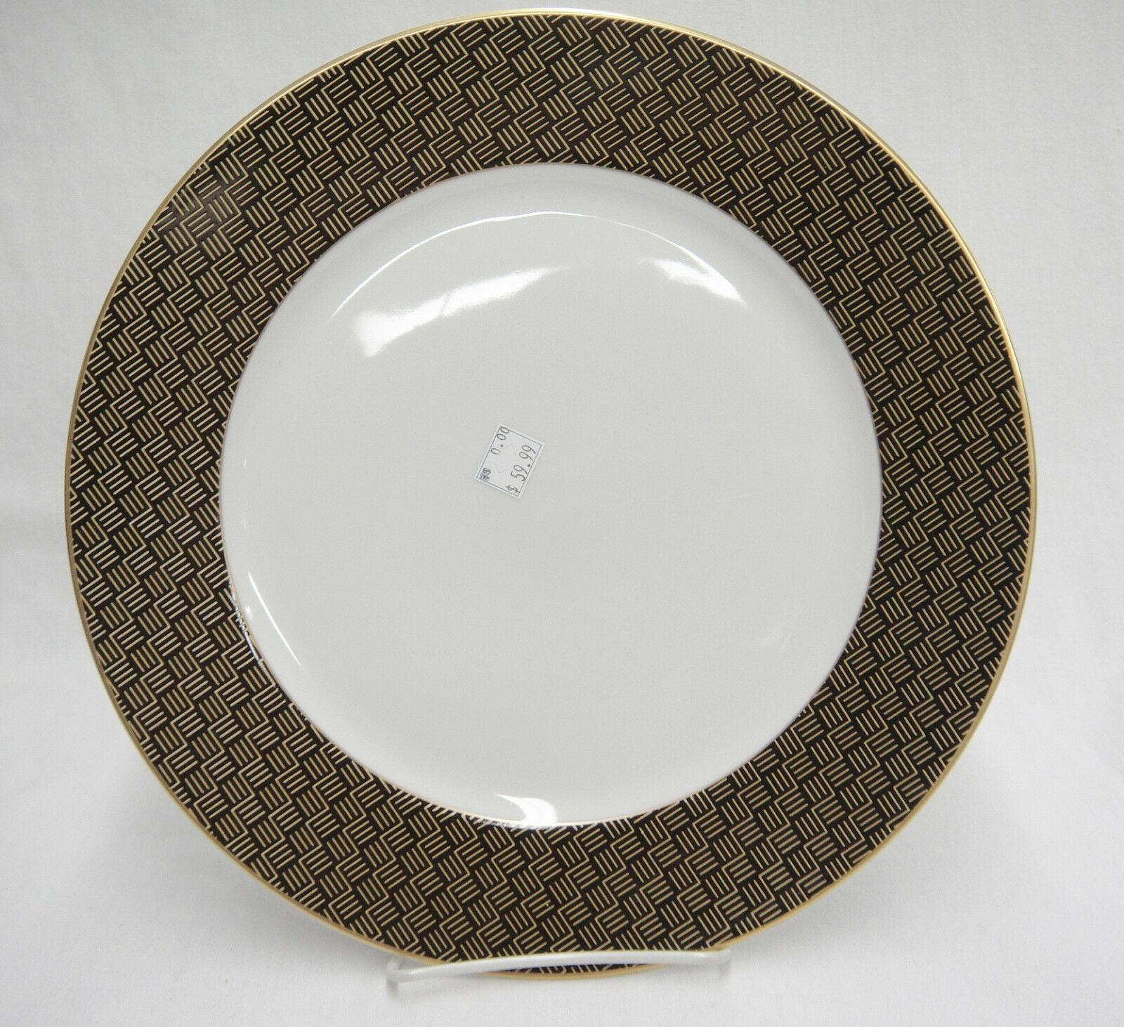 "Ralph Lauren Hastings Chocolate 12"" Chop Plate Round Platter Brown Gold Zigzags"