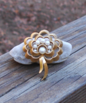 Vintage Crown Trifari© Faux Pearl Brooch, Gold - $125.00