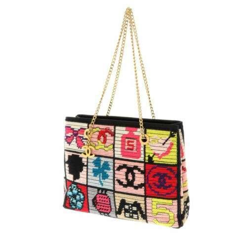CHANEL Icon Chain Shoulder Bag Leather Knit Black Multi Color CC Logo Authentic
