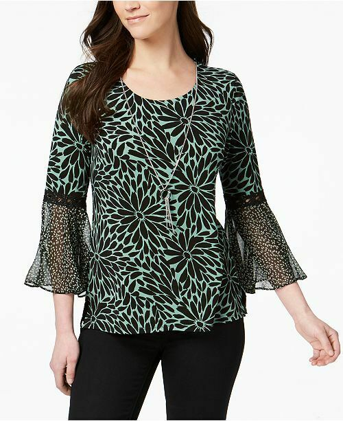 New $55 Women's JM Collection Bell-Sleeve Top Green Petal Blouse Shirt Size Lg