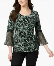 New $55 Women's JM Collection Bell-Sleeve Top Green Petal Blouse Shirt S... - $29.02