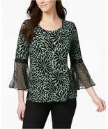 New $55 Women's JM Collection Bell-Sleeve Top Green Petal Blouse Shirt S... - $29.02