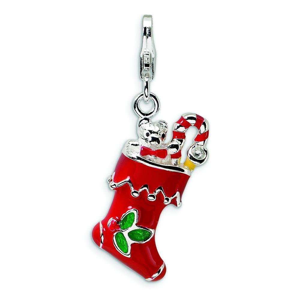 Sterling Silver Enameled Stockings Lobster Clasp Charm