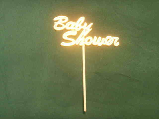 """6 Baby Shower Picks decoration sticks white with gold trim 5.5"""" tall image 2"""