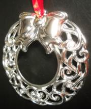Lenox Christmas Ornament Sparkle and Scroll Clear Crystal Silverplate Wreath Box - $8.99