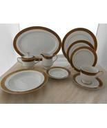 31 p SANGO Hampton Gold DINNERWARE LOT Sugar DINNER PLATE SOUP BOWL cup ... - $223.73