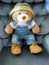 """Build A Bear BABW 15"""" Bear + Coveralls, Hat, Shirt & Shoes Says I Love Y... - $25.99"""