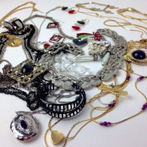 Costume Jewelry Lot Boho Mod metal mixed materials locket black red vtg ... - $29.65