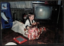Vintage Photograph Cute Little Boy Opening Gifts by Retro Television Set - $7.92