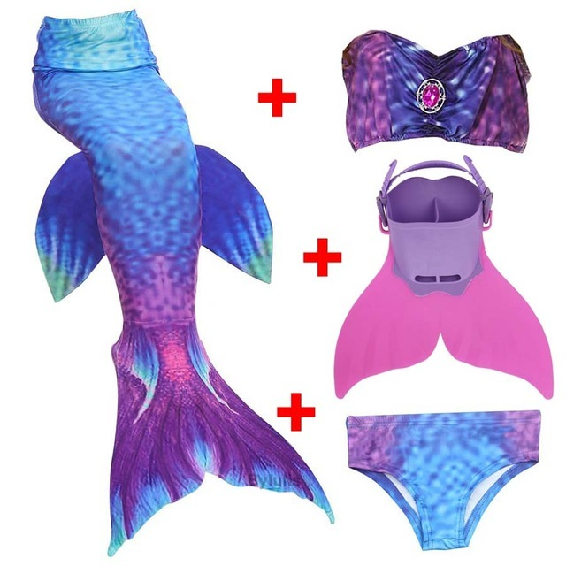 NEW!4pcs Girl Kids Swimsuit Mermaid Tail Costume for Girls Swimming with Monofin - $32.99