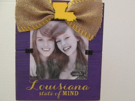 """""""Louisiana State of Mind"""" LSU Photo Frame, Distressed Wood and Burlap, NWT - $9.95"""