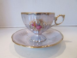 ROYAL CROWN CHINA 4660 TEACUP AND MATCHING SAUCER BLUE PEARLIZED COUPLE ... - $14.80