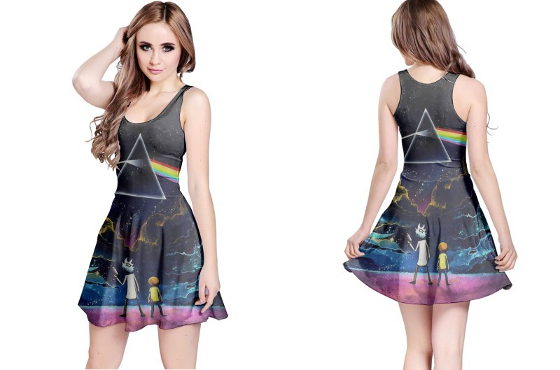 Pink floyd and rick morty reversible dress