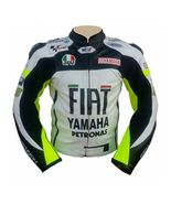 YAMAHA WHITE FIAT PETRONAS REAL COWHIDE MOTOGP RACING LEATHER JACKET ALL... - $139.00