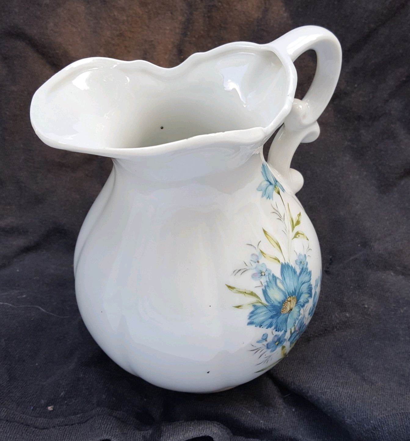 Vintage Inarco Japan White Ceramic Pitcher With Blue Flowers E-4542