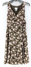 Ann Taylor Loft Sleeveless Dress Sz 4 Brown Pink Floral Knee Length (b1)  - $19.99