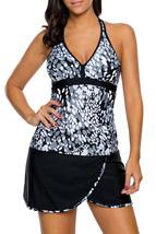 Grey White Spots V Neck Tankini Wrapped Skirt Swimsuit - $32.30