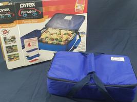 Pyrex Portables 4-Pcs Insulated Food Carrier Set Blue 2qt. 7x11 Pan - $8.00