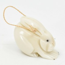 Hand Carved Tagua Nut Carving Small Bunny Rabbit Ornament Handmade in Ecuador