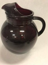 Vintage Ruby Red Drinking Pitcher Juice Anchor hocking Ice lip tilt Water - $31.67
