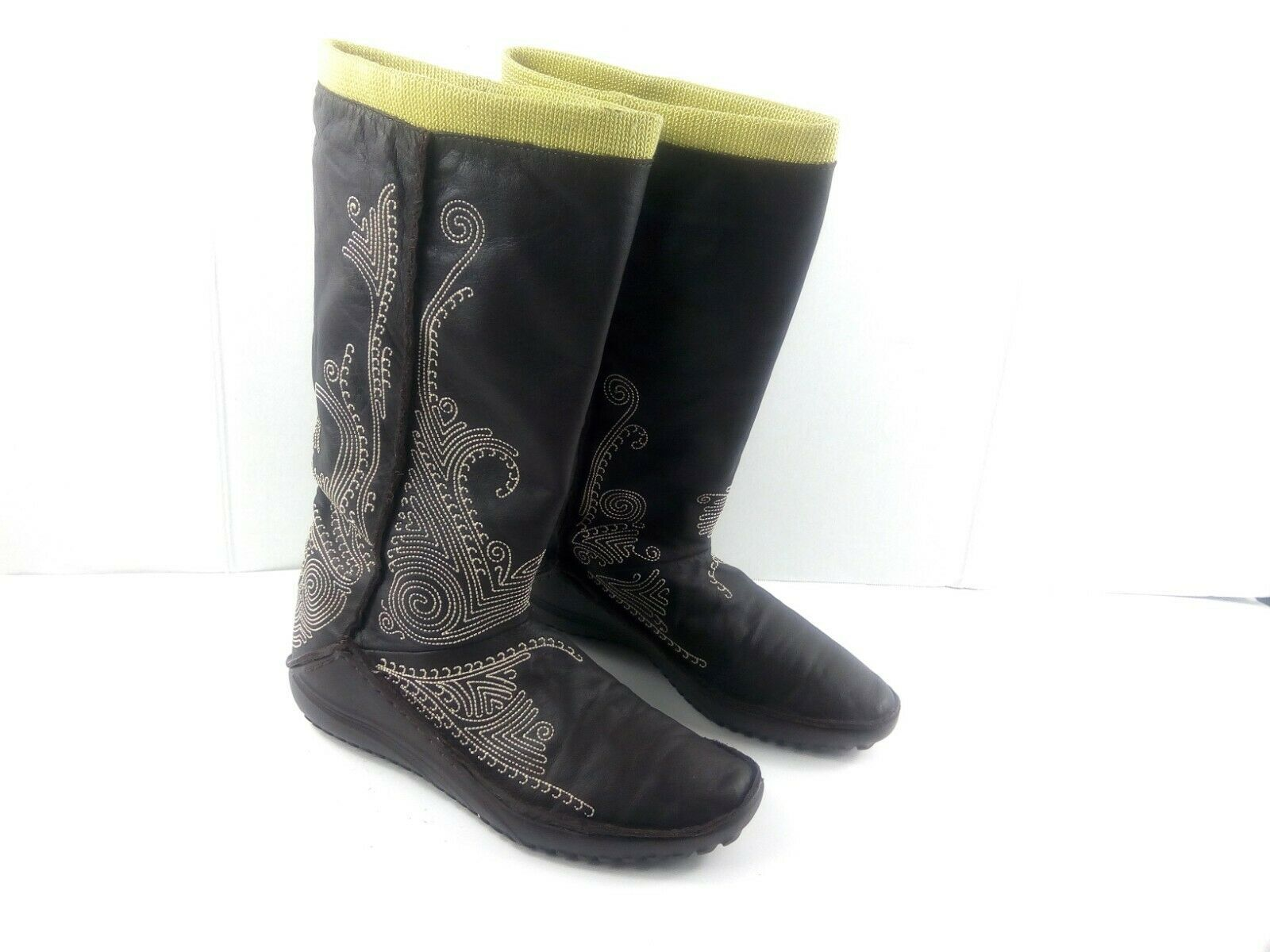 Puma Women's Boots Monsoon Tall Leather Embroidered Brown/Green Booties 7.5 W image 2