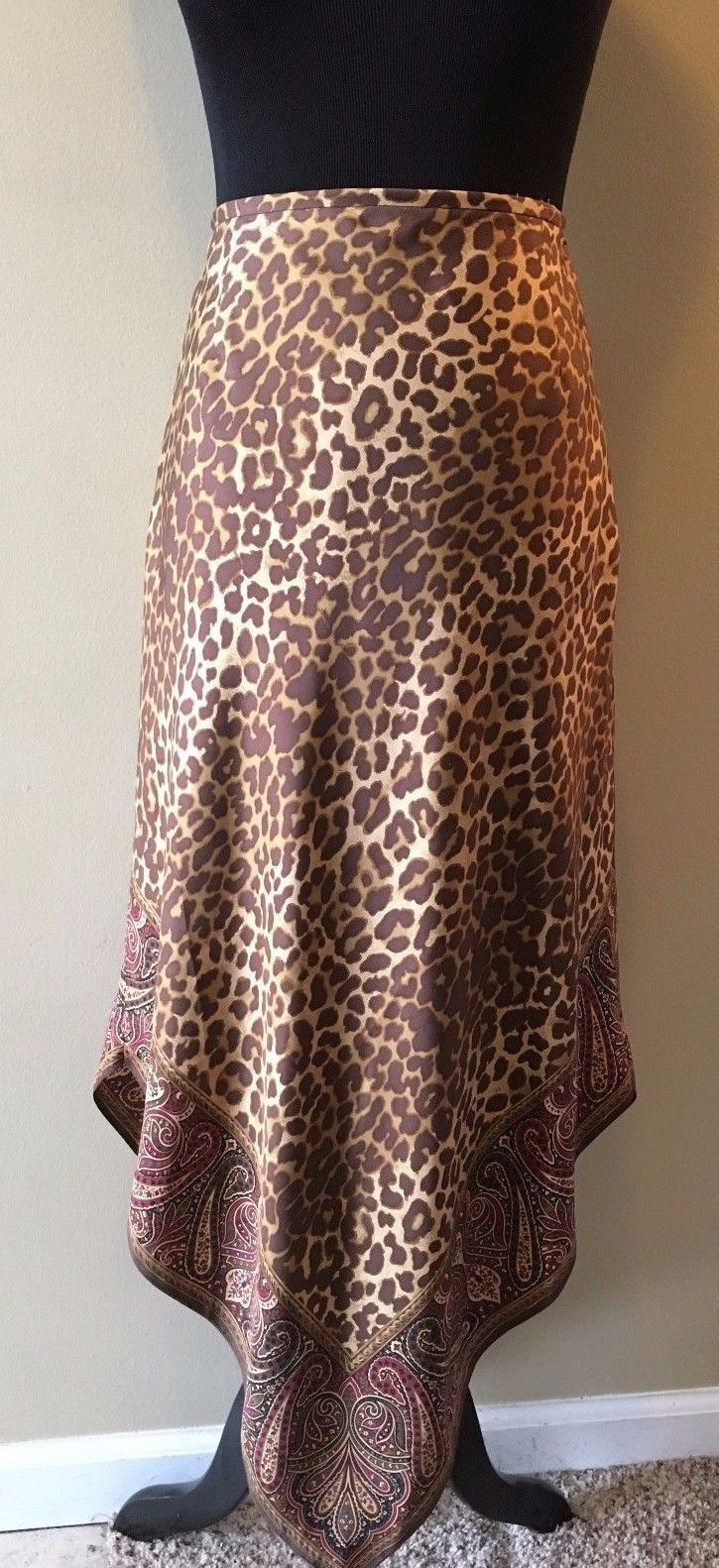 Primary image for GAP 100% Silk Brown Leopard Paisley Handkerchief Hem Skirt size 6 NWT $68 SK1