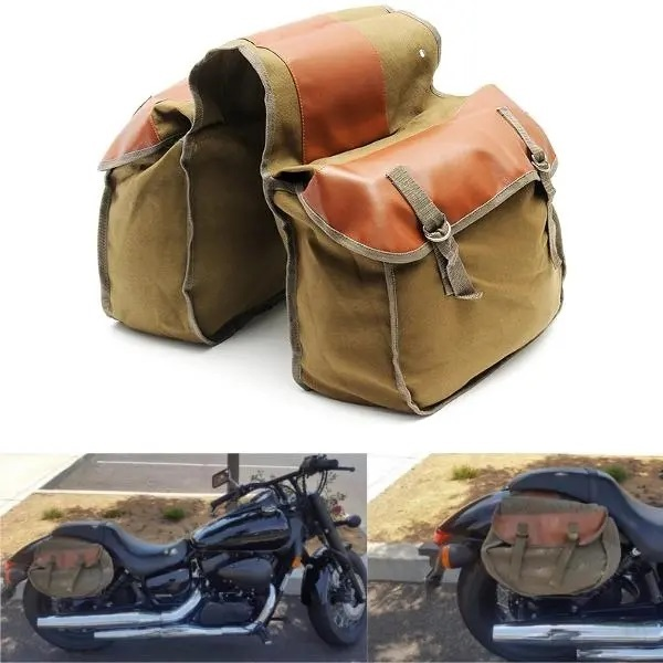 Primary image for Motorcycle Bike Side Saddle Bag Canvas Luggage Pouch Army Green & Brown Khaki