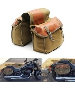 Motorcycle Bike Side Saddle Bag Canvas Luggage Pouch Army Green & Brown ... - $57.53