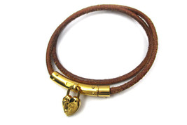 HERMES HEART Charm Gold Plated, Leather Necklace Pendant, Bracelet HA7646L - $169.00