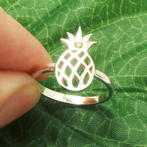 Handmade 925 Sterling Silver Pineapple Ring - Fruit Jewelry, US Size 4 - 14 image 2