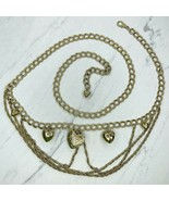 Gold Tone Heart Charm Chunky Drape Belly Body Chain Link Belt One Size - $22.24