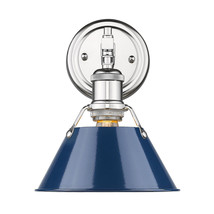 Orwell 1 Light Bath Vanity in Chrome with Navy Blue Shade - $63.75