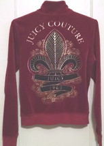 Juicy Couture Blingy Maroon Velour Jacket Size L (Runs small? See measurements) - $19.35