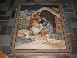 Mohawk Holy Family Nativity Mary Joseph Jesus Xmas Tapestry Throw Blanke... - $69.29