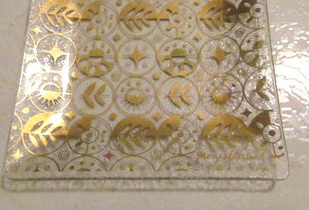 Vintage 1960's Georges Briard Glass Tray with 22k Gold Leafing Icons & Shapes, M