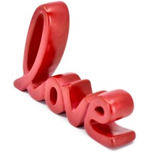 Vaneal Group Hand Carved Soapstone Red Love Free-Standing Cursive Word Sign image 2