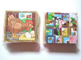 2 Melissa & Doug Wooden Cube Puzzle 16 wood blocks 6 Pets Scenes Learning Toys - $11.99