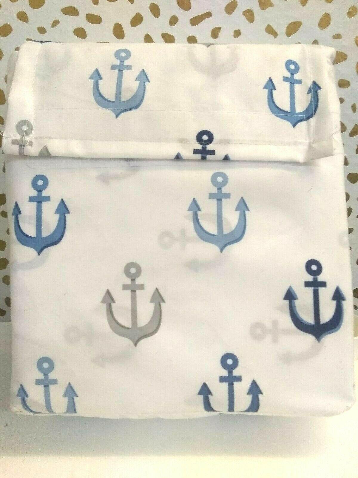 Pillowfort Twin Anchors Sheet Set BLUE Nautical Navy Blue White Pirate