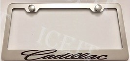 For Cadillac Script Stainless Steel Metal License Plate Frame Rust Free W/ Caps - $13.85