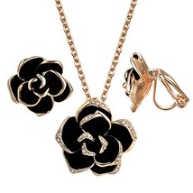 Yoursfs Black Flower Jewelry Set 18K Rose GP Sexy Rose Flower Lacing wit... - $23.30